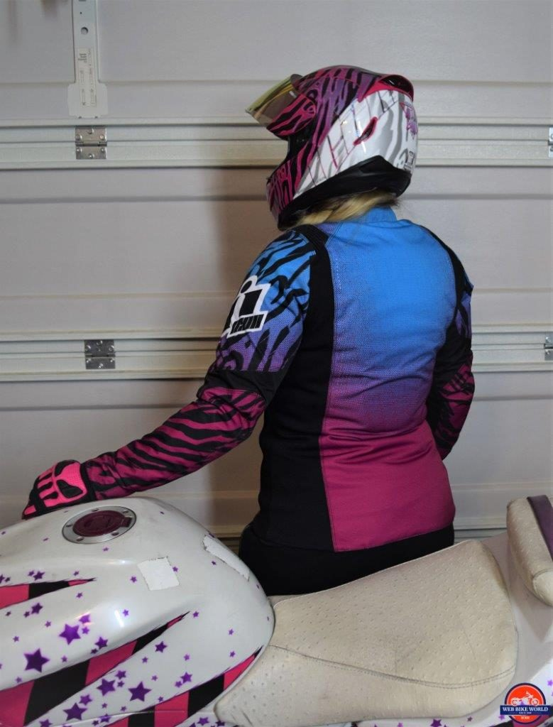 Icon Motosports Women's Overlord SB2 Wild Child purple motorycycle jacket.