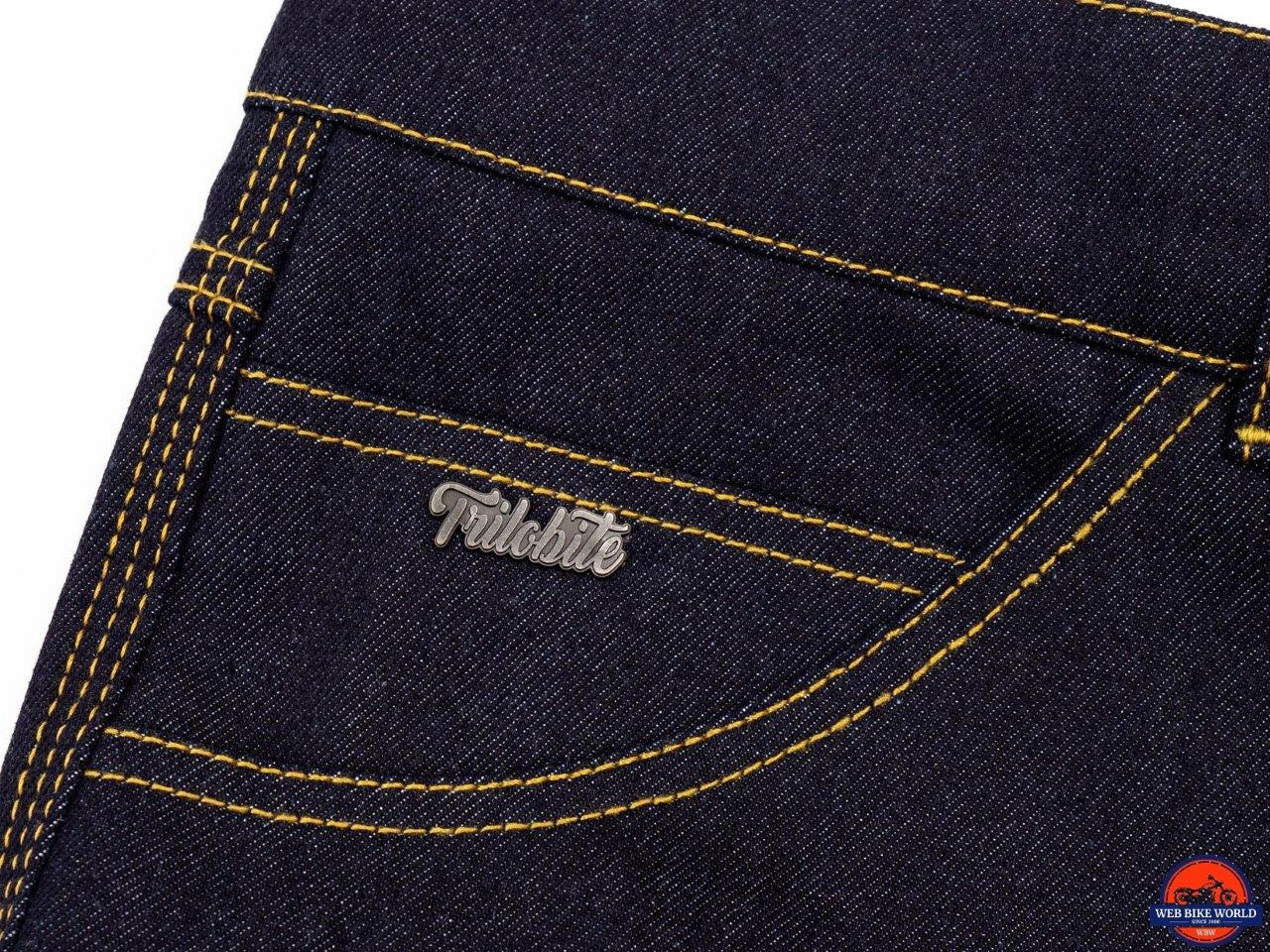 Trilobite Go-Up Jeans logo and stitching