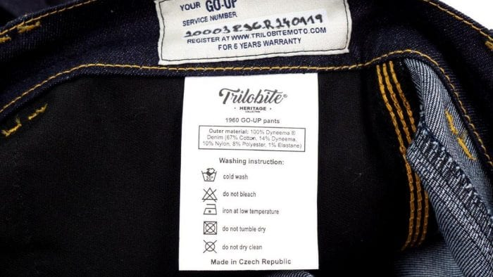 Trilobite Go-Up Jeans serial number and care instructions