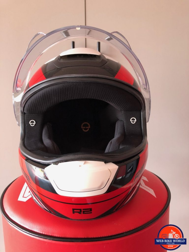 Front view of Schuberth R2 cheek and face padding