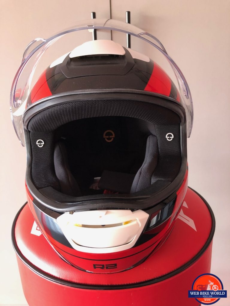 Schuberth R2 with chin and top vent open for airflow