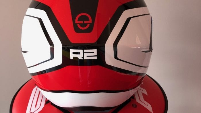 Rear view of Schuberth R2 showing the contour along the back of the helmet to allow for an aggressive riding position