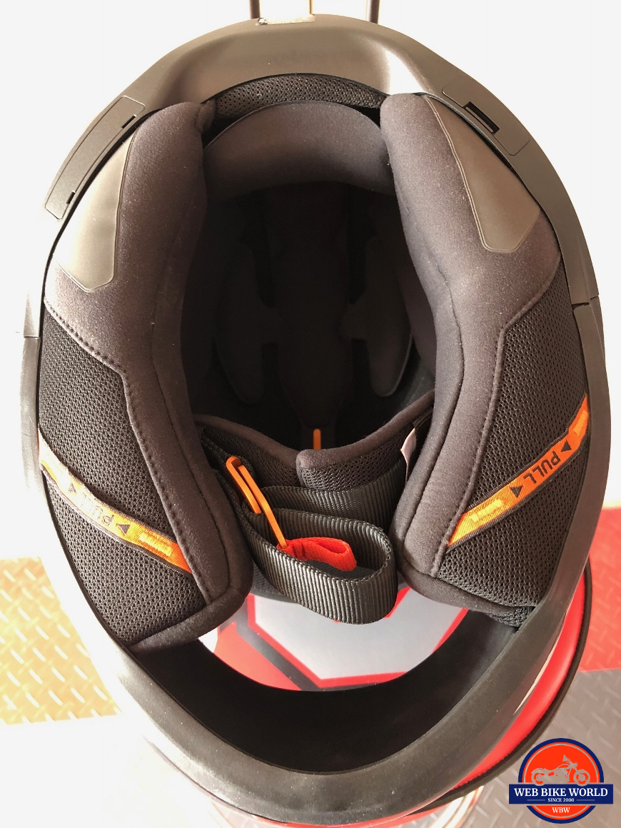 Schuberth R2 base showing port covers for the SC1 comms system