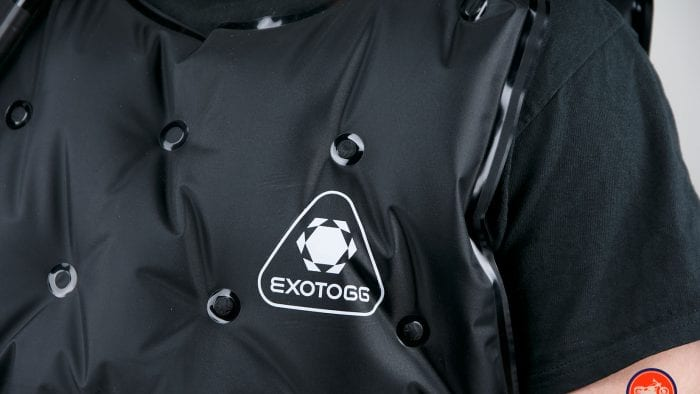 The Exotogg logo on the vest.