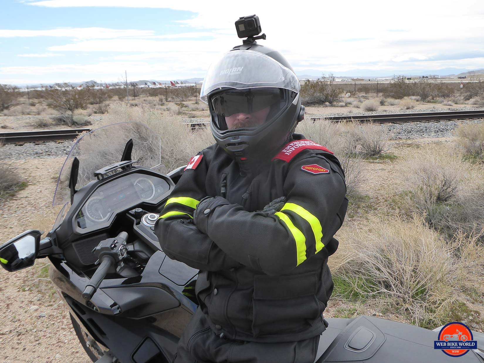 Me wearing my Motoport USA mesh jacket and Nolan N100-5 helmet.