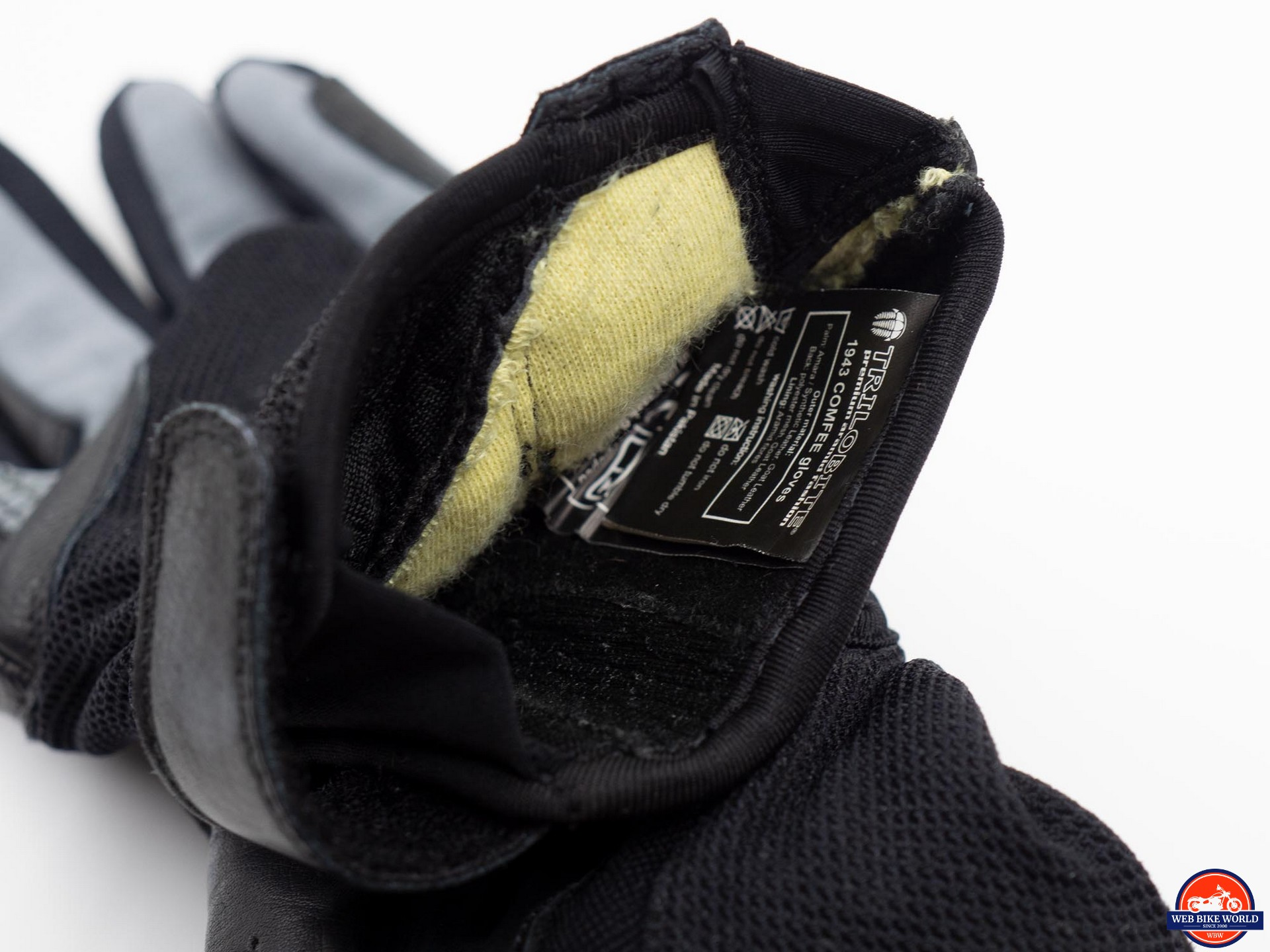 Trilobite Comfee Gloves care instructions inside cuff