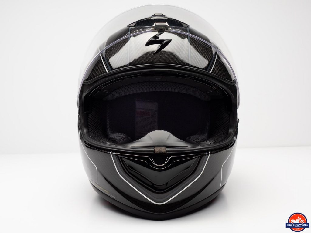 Scorpion EXO-ST1400 Carbon Helmet frontal view with visor up