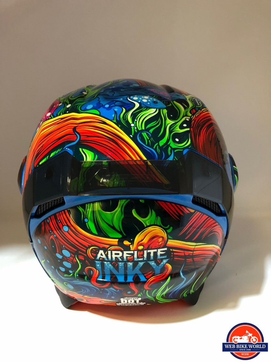 Icon Airflite Inky helmet rear view of graphics and spoiler