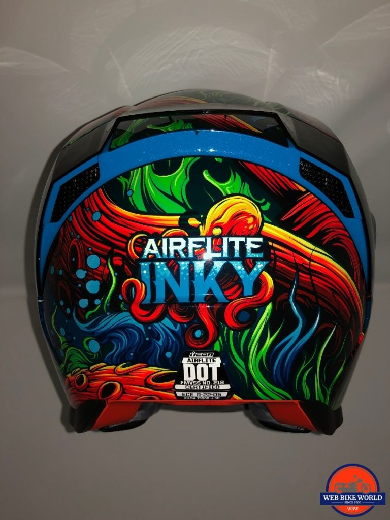 Icon Airflite Inky Helmet rear view of spoiler and two exhaust ports