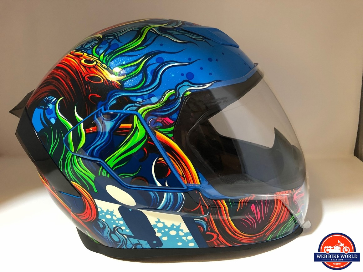 Icon Airflite Inky Helmet side view with FliteShield down and Drop Screen up