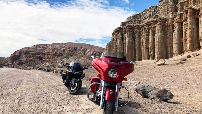 Red Rock Canyon and the Honda Gold Wing DCT and Indian Chieftain Limited.