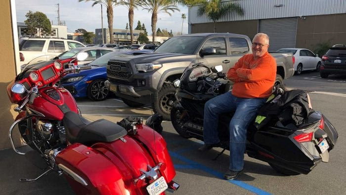 Greg with the Honda Gold Wing DCT and Indian Chieftain Limited.