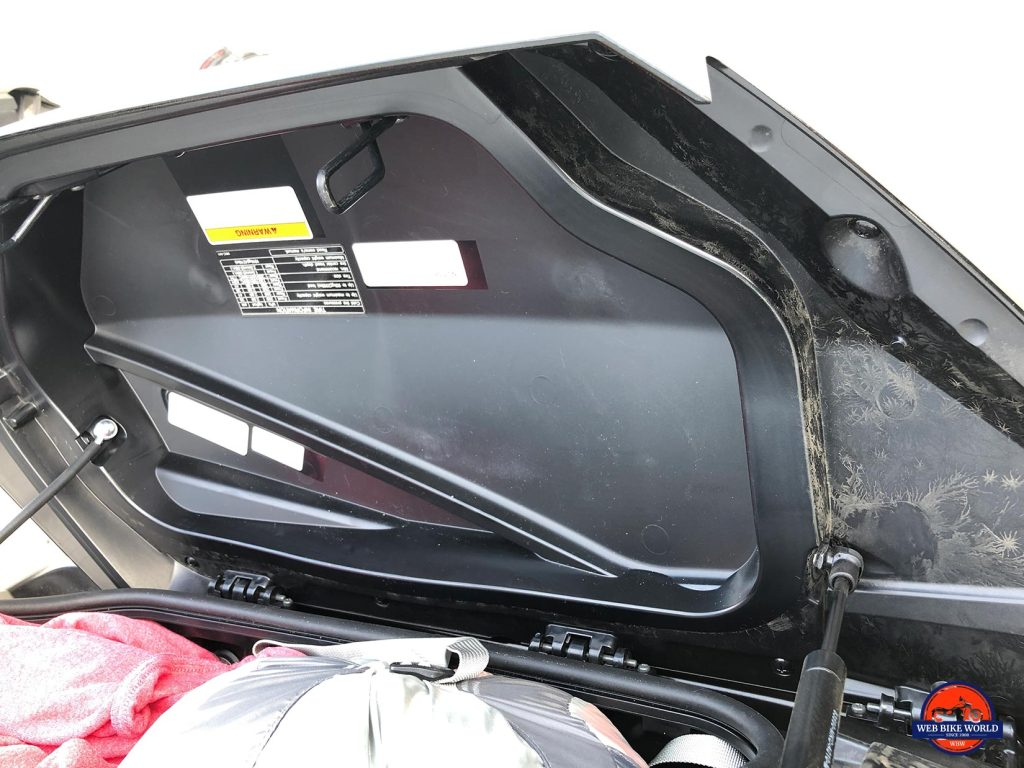 Honda Gold Wing DCT saddlebag interior is dust and water proof.