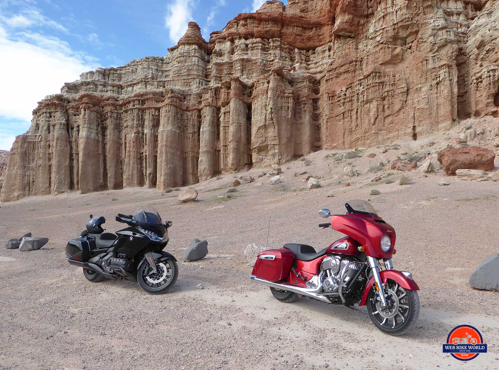 Honda Gold Wing DCT and Indian Chieftain ltd at Red Rock Canyon.
