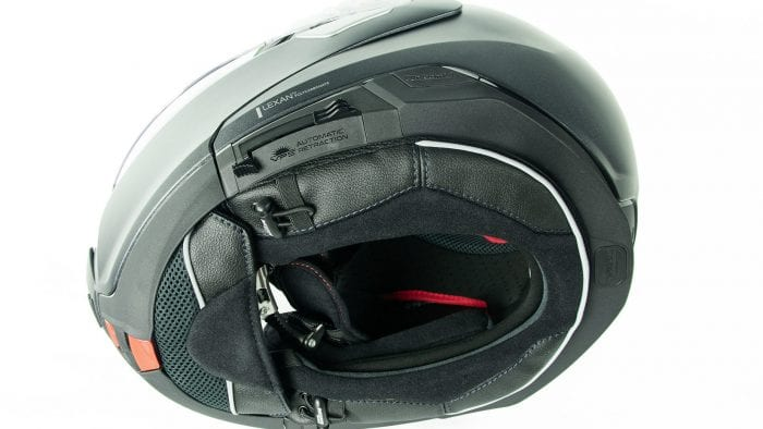 Bottom view of the Nolan N100-5 helmet with N-Com B901L installed.