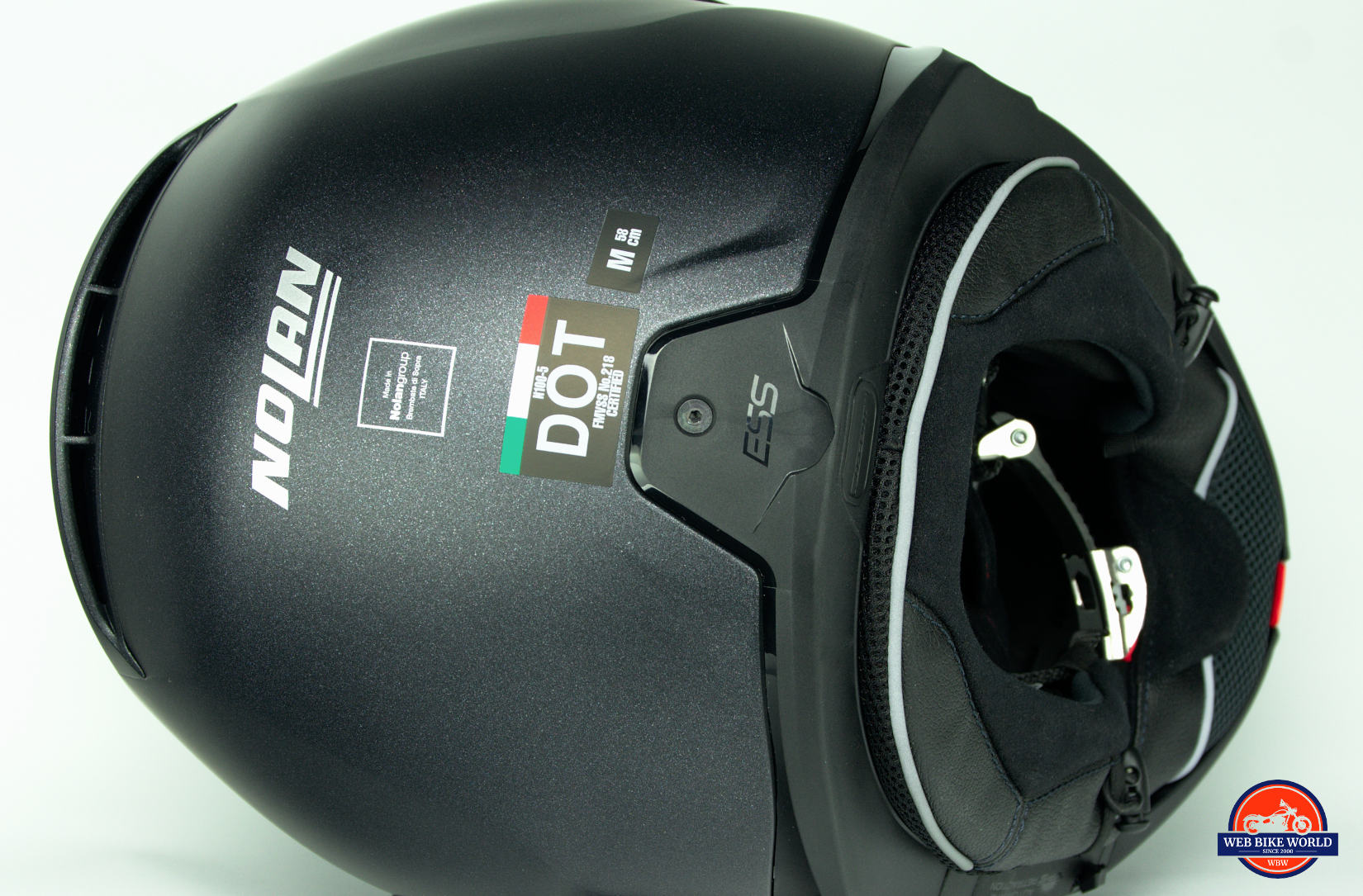 Rear view of the DOT sticker on the Nolan N100-5 helmet with N-Com B901L installed.