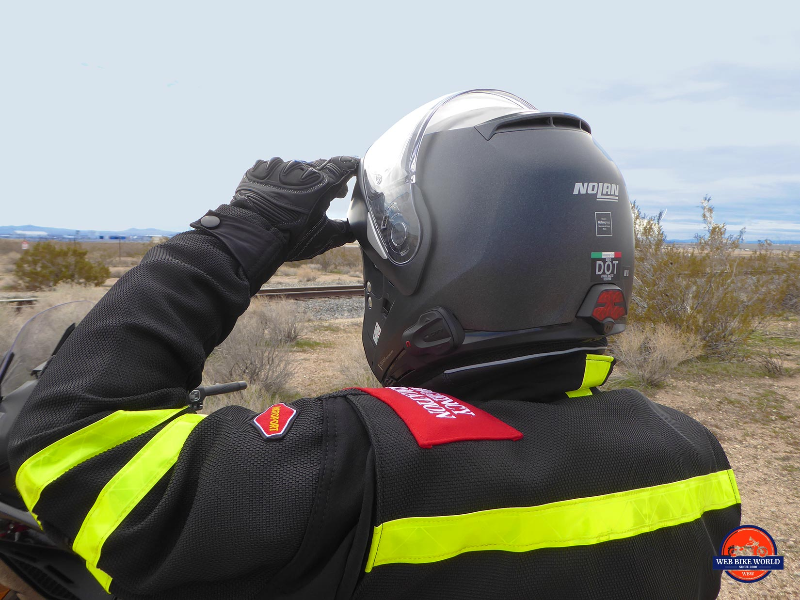 Rear view of the Nolan N100-5 helmet with N-Com B901L installed.