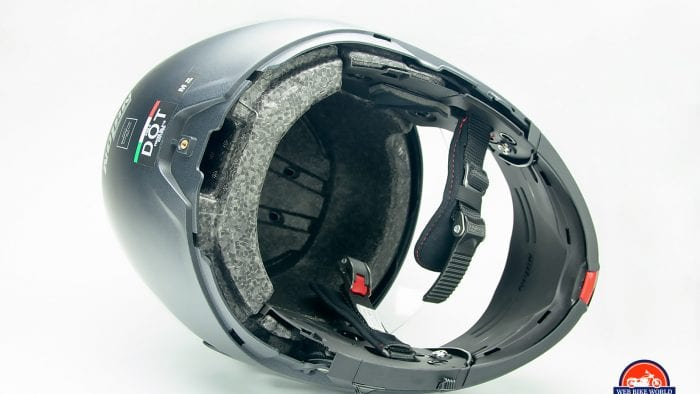 Liner removed from the Nolan N100-5 helmet with N-Com B901L installed.
