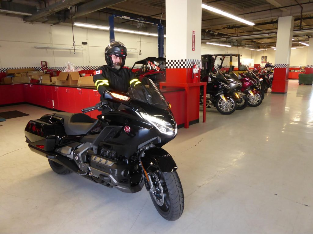 Me picking up the Honda Gold Wing DCT.