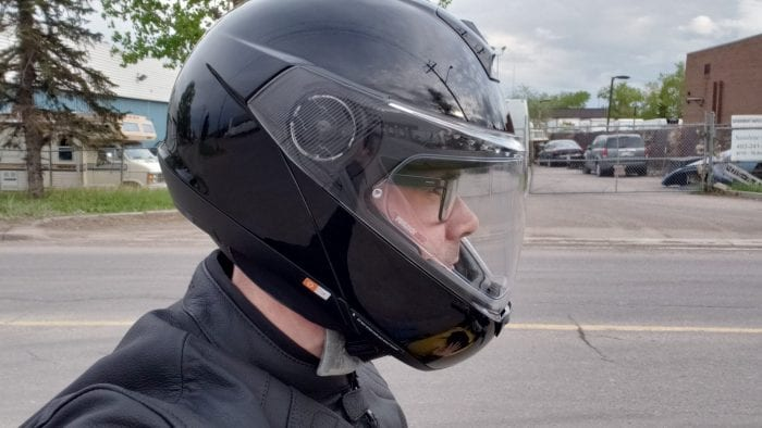 SCHUBERTH C4 Pro, side profile view, worn by Cameron Martel