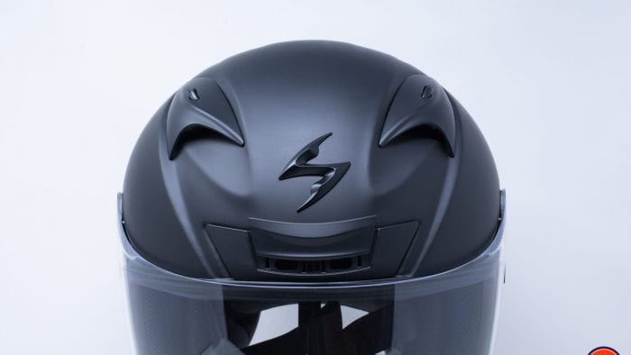 Close up of vents & logo on Scorpion EXO-R710
