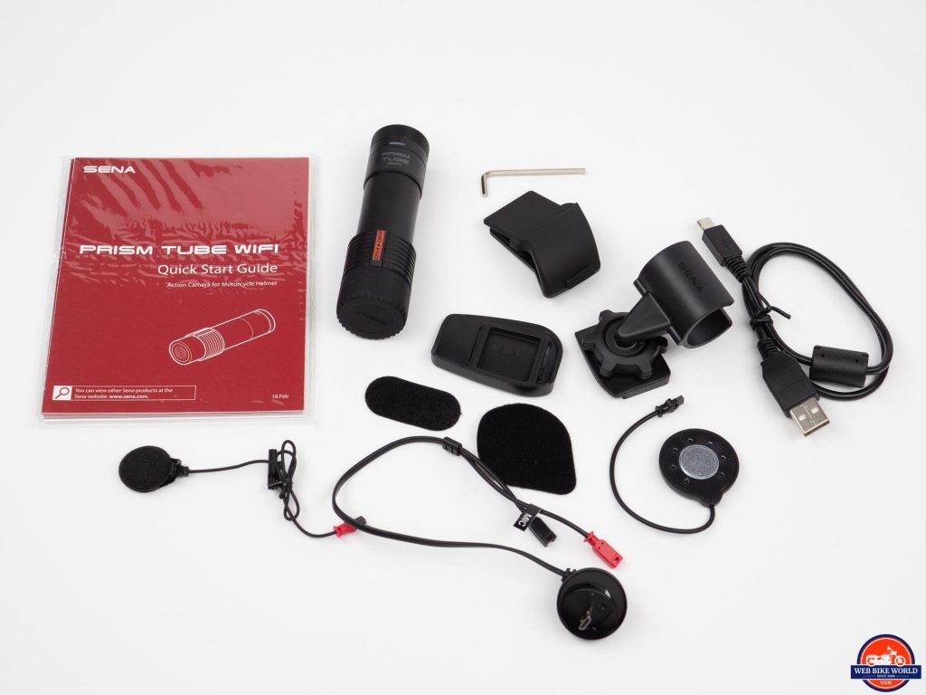 Sena Prism Tube WiFi Action Camera, accessories, & quick start guide