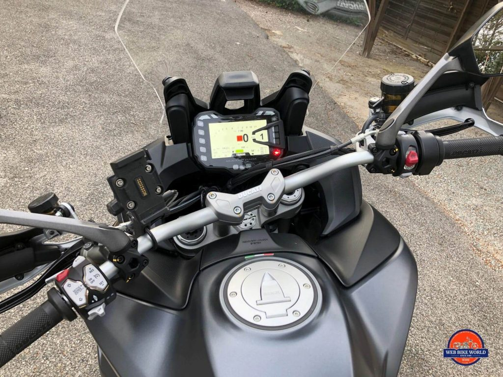 2019 Ducati Multistrada 1260S dash and handlebars.
