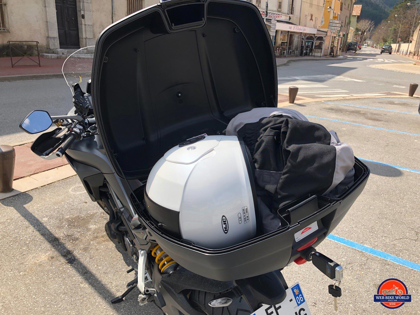 2019 Ducati Multistrada 1260S tour pack with gear inside.