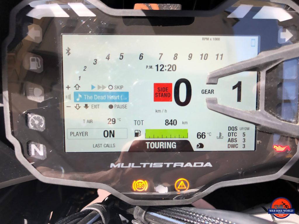 2019 Ducati Multistrada 1260S display.