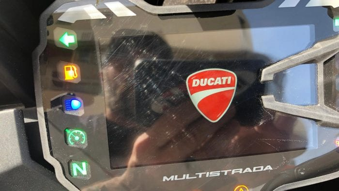 2019 Ducati Multistrada 1260S scratched display.