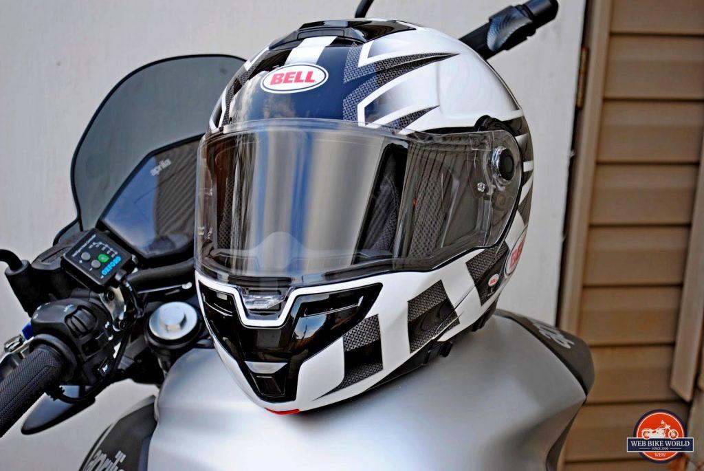 Bell SRT Modular Helmet on Aprilia Shiver motorcycle