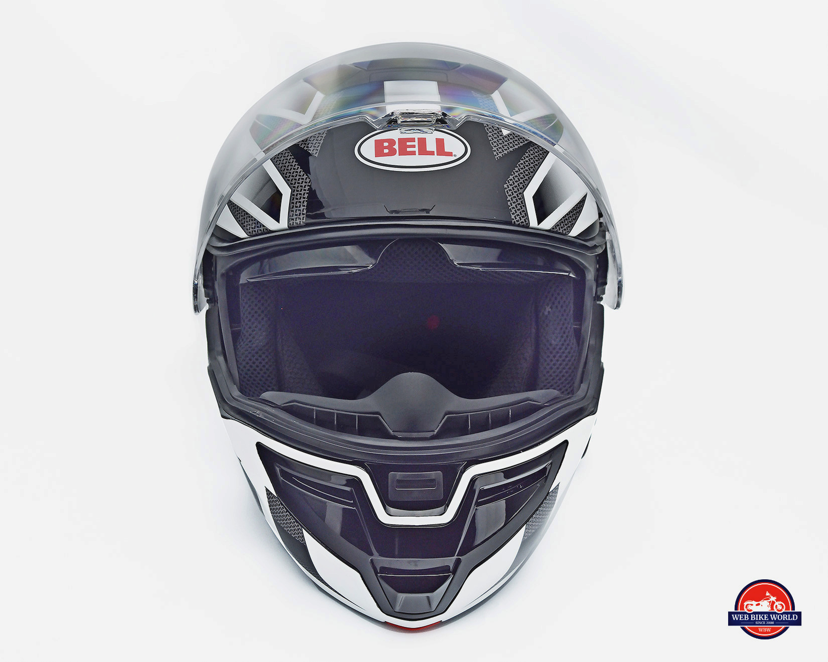 The Bell SRT Modular front view visor open.