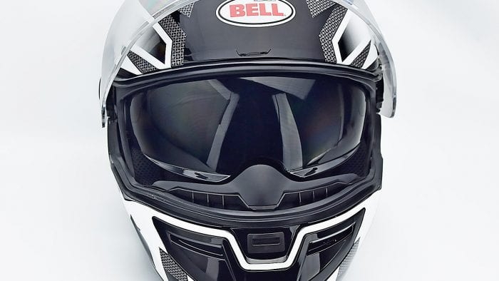 Bell SRT Helmet with sun visor lens lowered.