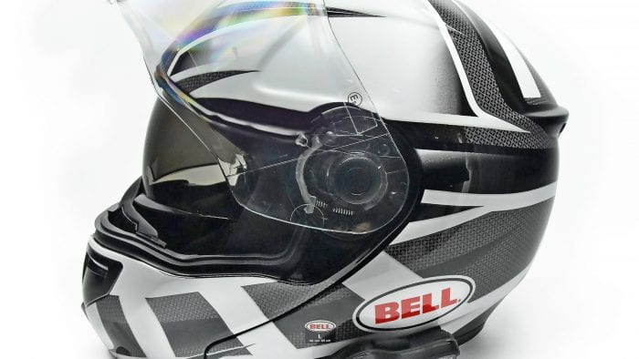 The Bell SRT Modular side view with Lexin FT4 bluetooth.