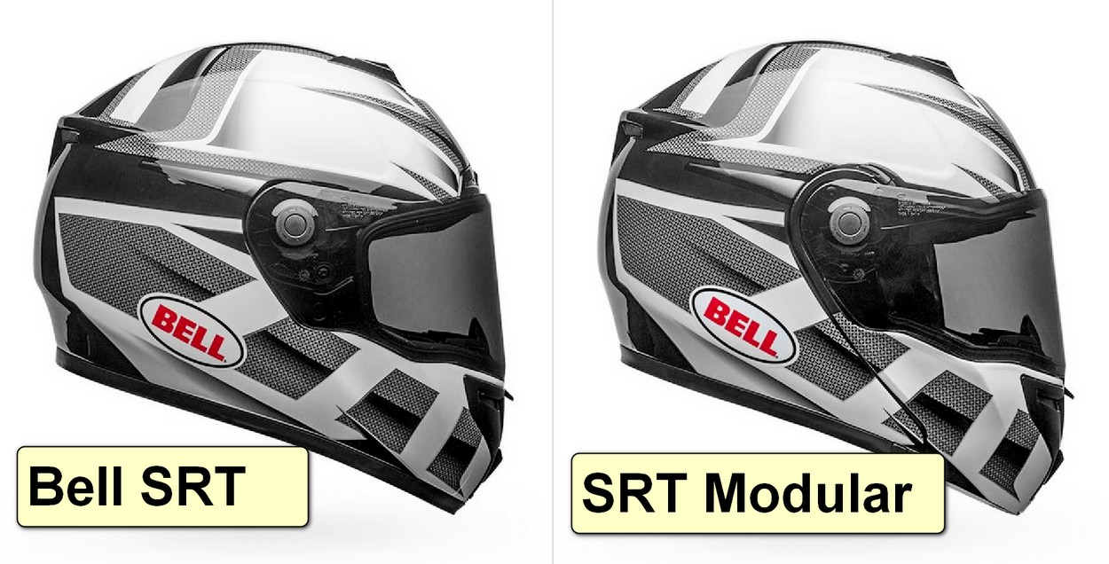 Comparison photo showing the SRT vs SRT Modular Bell helmets.