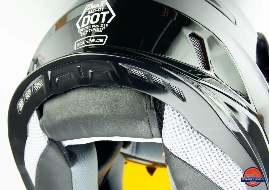 GMax MD01 helmet exhaust vent