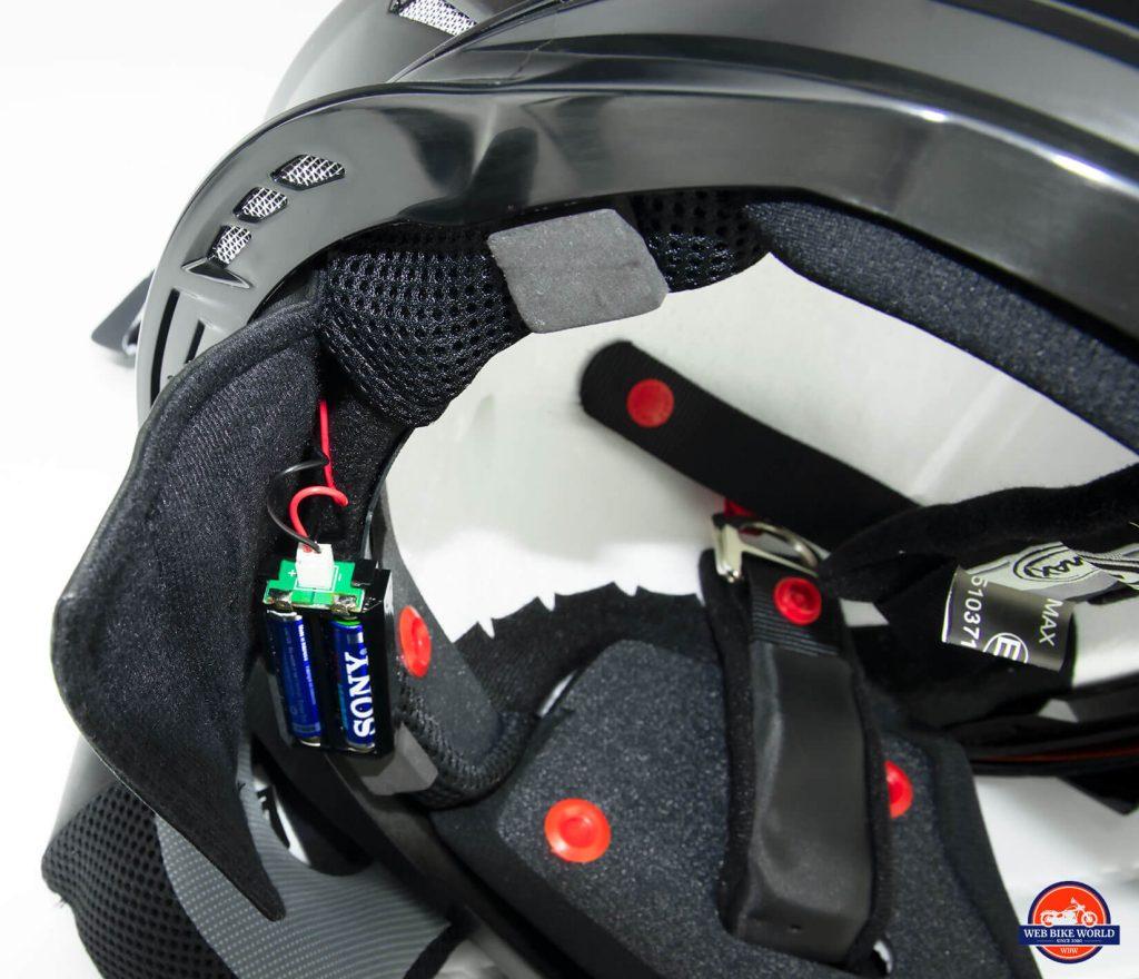GMax MD01 helmet power pack for the rear LED light.