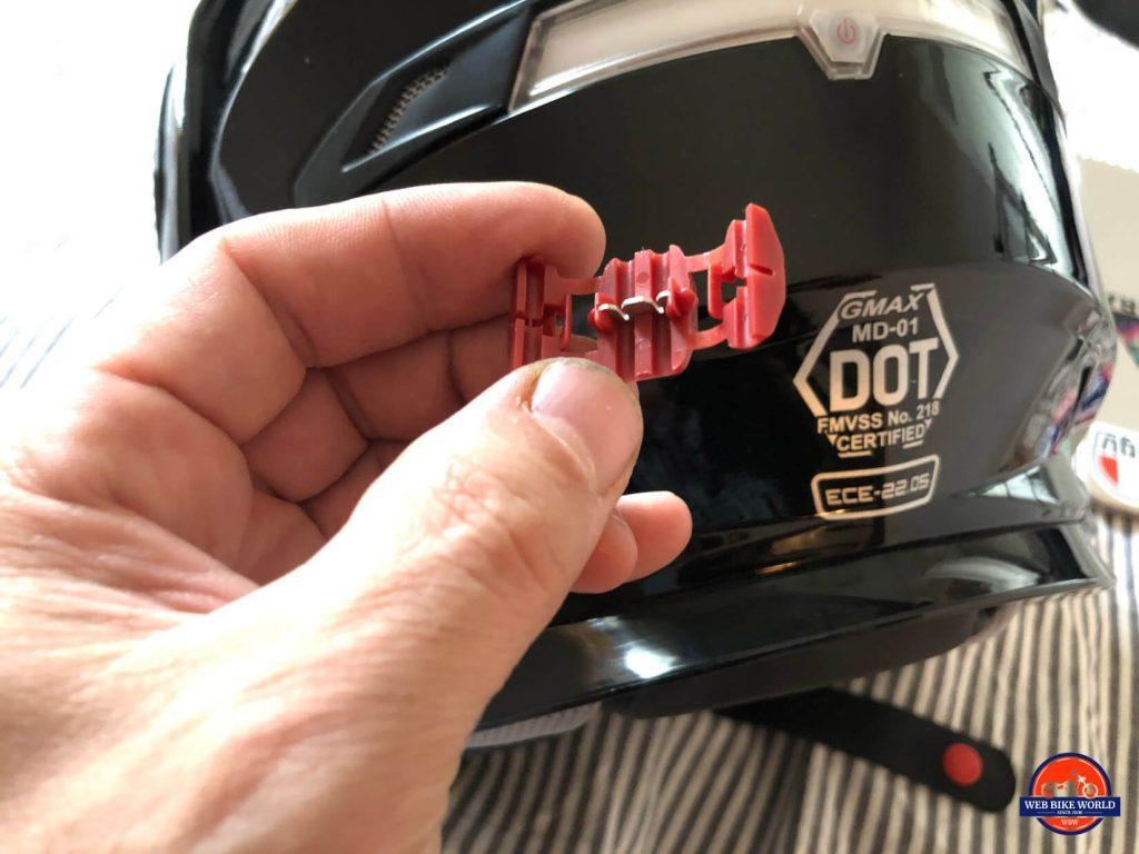GMax MD01 helmet LED brake light connector from the kit.