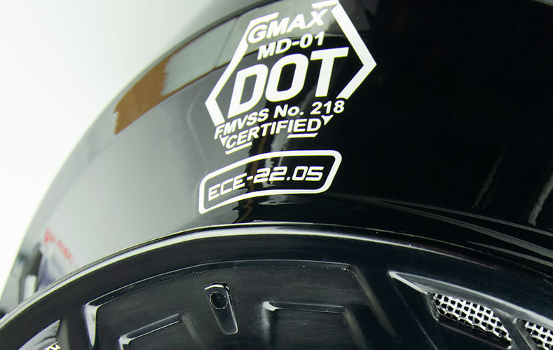 GMax MD01 helmet DOT/ECE stickers.