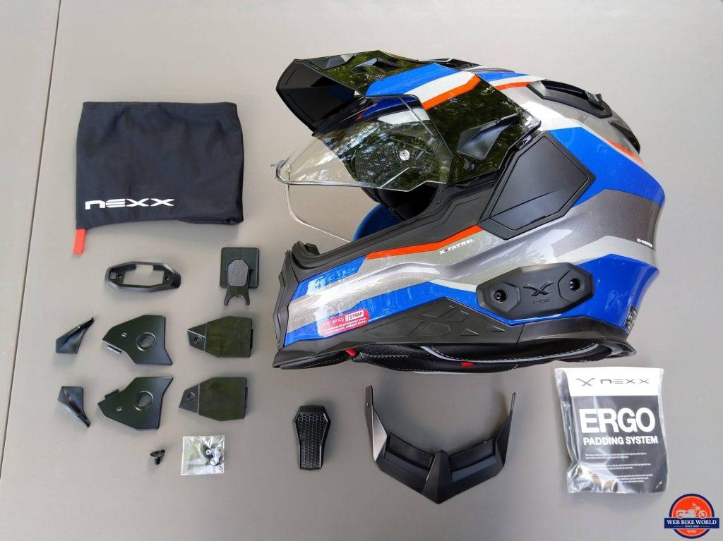 NEXX X.Wed2 X-Patrol Helmet, full parts, and instructions
