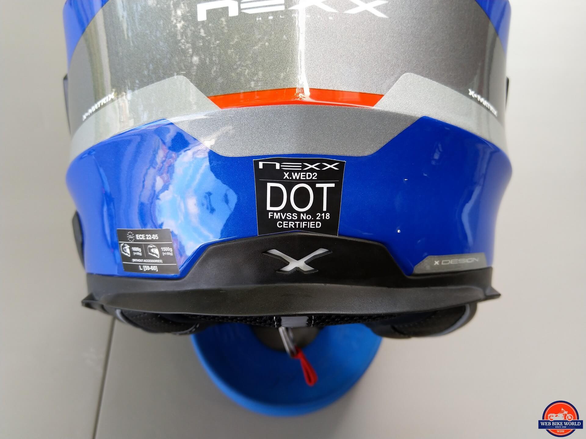 NEXX X.Wed2 X-Patrol Helmet DOT sticker safety rating