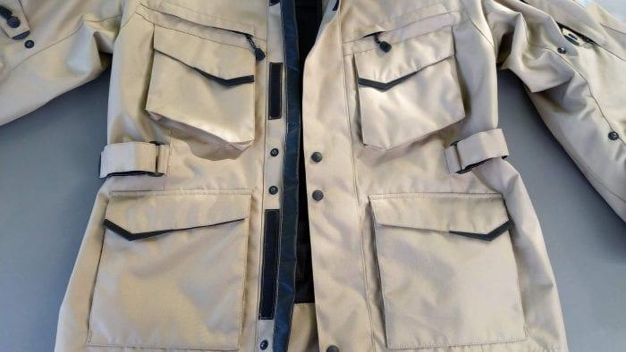 Motonation Pursang Textile Adventure Jacket pocket fasteners, pull strips, flaps