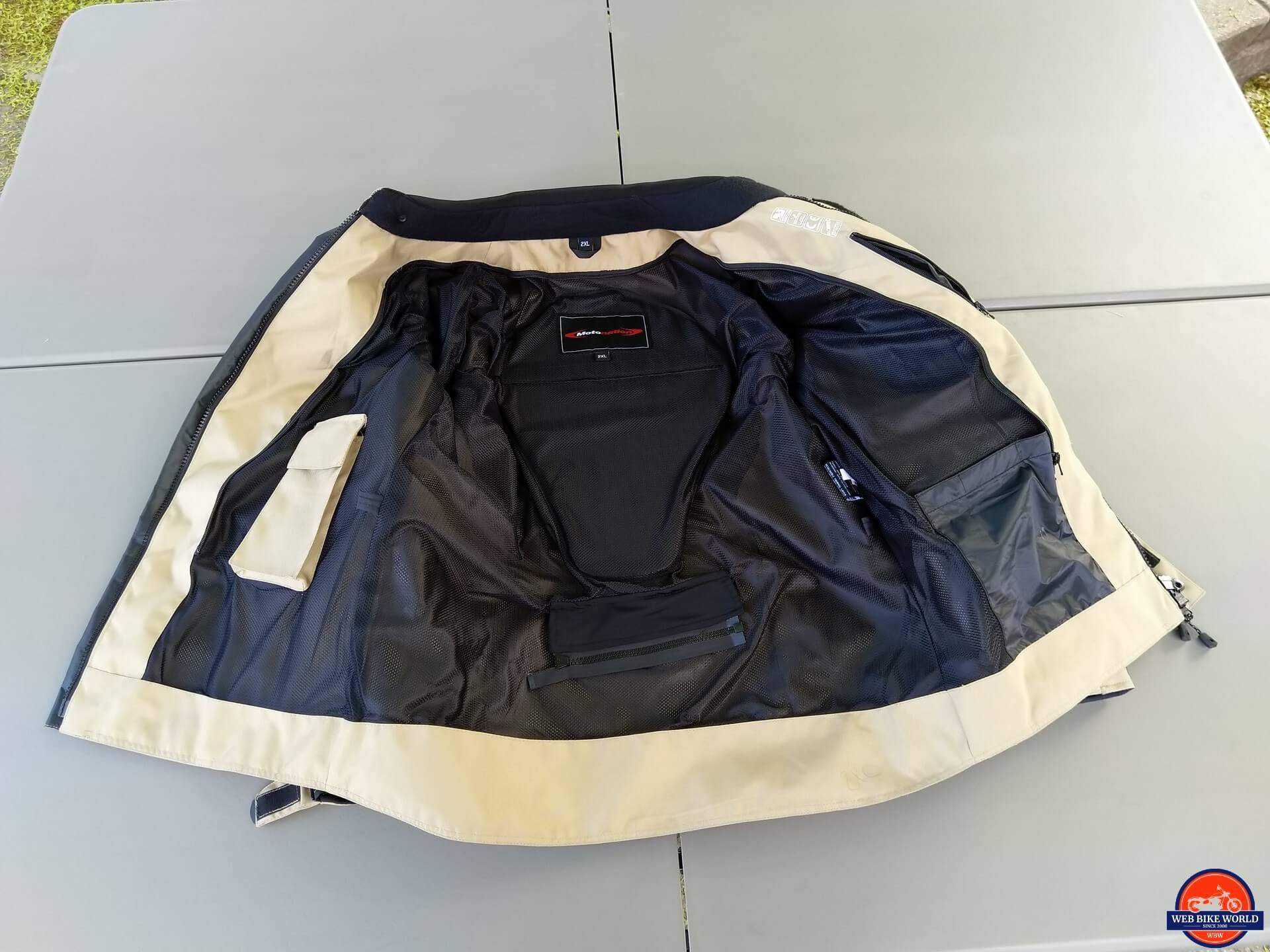 Motonation Pursang Textile Adventure Jacket interior padding