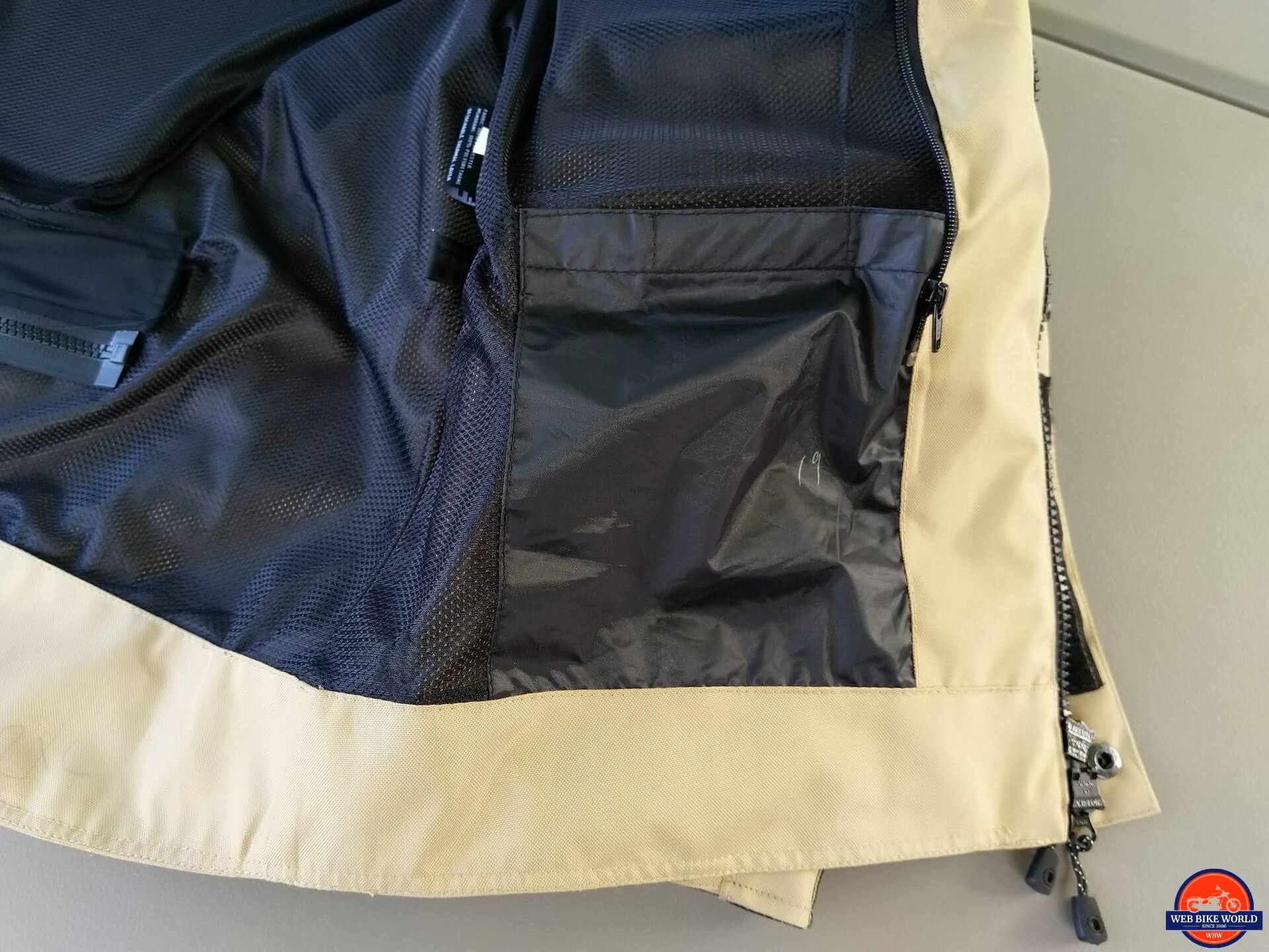 Motonation Pursang Textile Adventure Jacket interior wallet pocket closeup