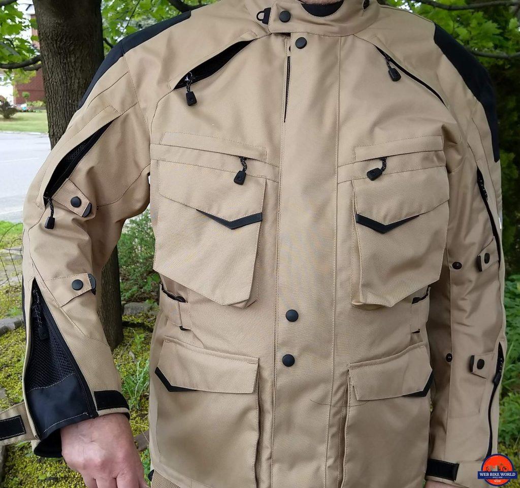 Motonation Pursang Textile Adventure Jacket zippers and arm ventilation