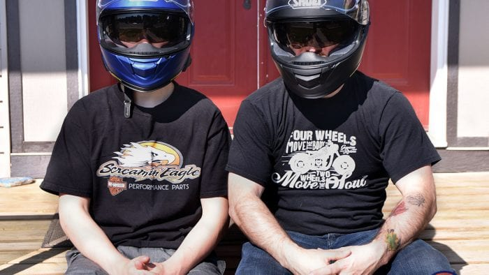 Father and son wearing the Shoei GT Air and GT Air II helmets.