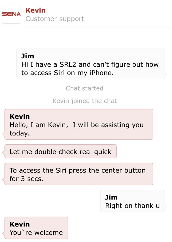 Chat window from Sena.com help line.