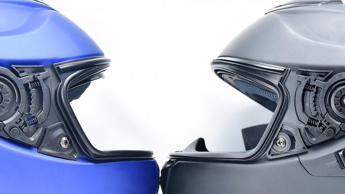 Latching hinge mechanism on The Shoei GT Air II and original GT Air.