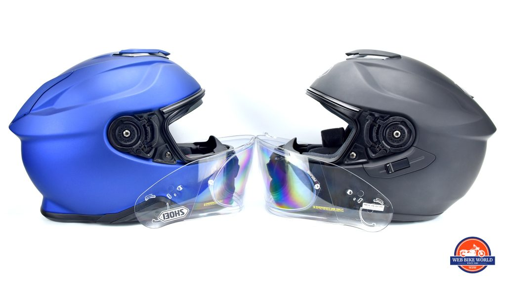 Shoei GT Air on the right with the new GT Air II on the left.