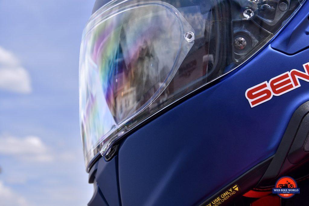 The Shoei GT Air II visor fully closed.